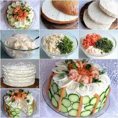Delicious Sandwich Cake. :)  Recipe--> http://wonderfuldiy.com/wonderful-diy-delicious-sandwich-cake/