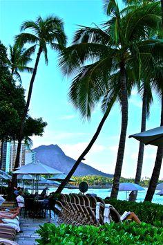 View of Diamond Head from the Moana Surfrider, Waikiki, Hawaii