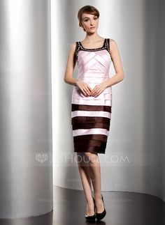 A-Line/Princess Scoop Neck Knee-Length Satin Mother of the Bride Dress With Ruffle Beading (008014489)
