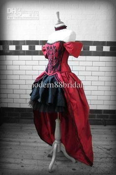 Wholesale Wedding Dress - Buy Sexy Sweet Heart Red &Black Cap Sleeves High Low Gothic Wedding Dress, $115.19   DHgate