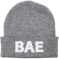 BAE Beanie/Grey WE ARE POP CULTURE ($25) ❤ liked on Polyvore featuring accessories, hats, beanie, grey, grey beanie hat, gray beanie, gray beanie hat, beanie hats and grey hat
