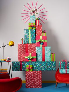 No more messy pine needles on the floor—just make your Christmas tree out of the gifts you're planning to give!