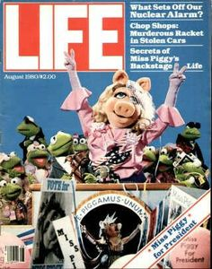 """Miss Piggy, Muppets ~ Life Magazine ~ August 1, 1980 issue ~ Click image or visit oldlifemagazines.com to purchase. Enter """"pinterest"""" at checkout for a 12% discount."""