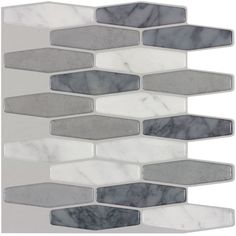 Shop Peel&Stick Mosaics Marmol Elongated Multiple Finish Composite Vinyl Mosaic Scale Peel-And-Stick Wall Tile (Common: 10-in x 10-in; Actual: 9.4-in x 10-in) at Lowes.com