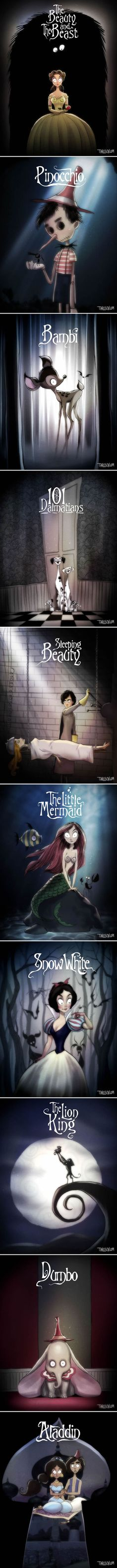 If Tim Burton Directed Disney Movies (By Andrew Tarusov)  how to change the atmosphere of a drawing