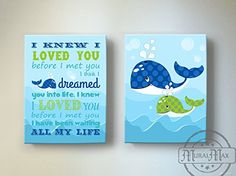 Amazon.com : Personalized Nautical Canvas Art - Baby Girl Room Décor - Nursery Decor Fish Ocean See Life - Set of Two - Blue And Green - Size 12x16 : Baby