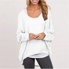 Spring Autumn Women Sweater Jumper Pullover Batwing Long Sleeve Casual Loose Solid Blouse Shirt Top Plus Femininas Blusas - White, XXL Like if you are Excited! Get it here