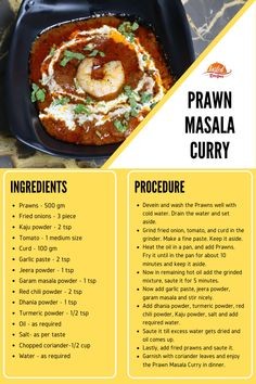 Prawn Masala Curry is spicy and sour curry made with Indian masala. A delightful journey especially for seafood lovers with a blend of herbs and spices. Veg Recipes, Curry Recipes, Seafood Recipes, Whole Food Recipes, Vegetarian Recipes, Chicken Recipes, Cooking Recipes, Chicken Marinades, Healthy Recipes