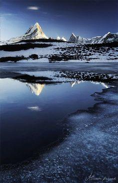 Schreckhorn Mountain, Swiss Alps.