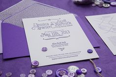 In love with this hand lettered font -- Oh So Beautiful Paper: Jessica + Scott's Purple Ombre Letterpress Wedding Invitations