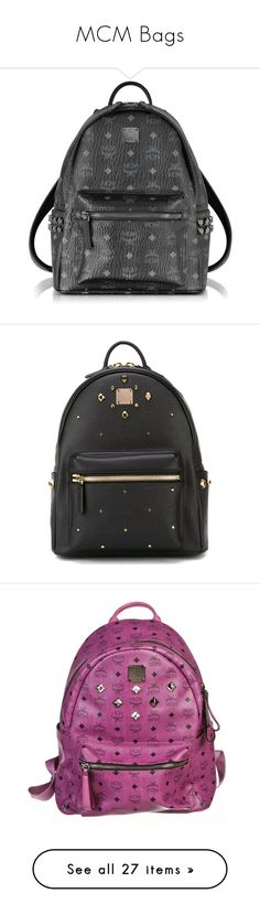 """MCM Bags"" by ayannap ❤ liked on Polyvore featuring bags, backpacks, backpack, mcm, white, white paper bags, padded backpack, mcm bags, day pack backpack and studded backpack"
