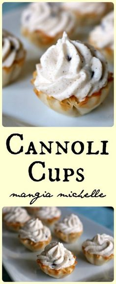Party perfect cannoli cups are a simple, easy and delicious pastry that will be the star of the dessert spread for your holiday gathering. Italian Desserts, Mini Desserts, Easy Desserts, Delicious Desserts, Yummy Food, Elegant Desserts, Sweet Desserts, Italian Pastries, Finger Desserts