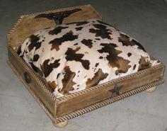 Custom Made Distressed Wood Western Style Longhorn Pet Dog Bed