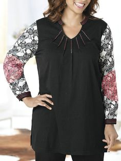 NEW ULLA POPKEN BLACK PINK EMBROIDERY LACE PRINT BLOUSE SHIRT TOP 14 16 20 22 32 in Clothes, Shoes & Accessories, Women's Clothing, Tops & Shirts | eBay