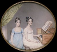 Sisters at the piano. Miss Harriet and Miss Elizabeth Binney by John Smart (1806).