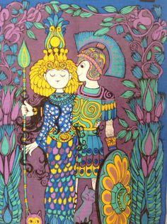 Vintage Irish Linen 1970's Rare Oxfam Belinda Lyon Antony and Cleopatra Tea Towel.Rare purple colour.