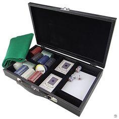 CAIXA DE JOGO DE PÔKER LUXO Lá estão fichas, dados e cartas, elementos básicos para agitar uma noite em casa com um animado jogo de pôquer. Tudo isso vem em uma luxuosa caixa, que, ao ser aberta, surpreende que a viu fechada.