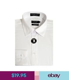 Dress Shirts Men's Slim Fit Dress Shirt Long Sleeve Pointed Collar Casual Formal White #ebay #Fashion