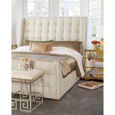 Bernhardt Continental Tufted King Bed (63,200 MXN) ❤ liked on Polyvore featuring home, furniture, beds, natural, hand made furniture, bernhardt furniture, handmade furniture, bernhardt and tufted furniture