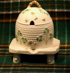Belleek honey pot on stand