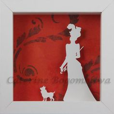 original papercut silhouette shadow box Lady with a by mgcpaper, $35.00