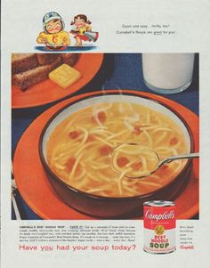 """1958 CAMPBELL'S SOUP vintage magazine advertisement """"Quick and easy"""" ~ Quick and easy ... thrifty, too! Campbell's Soups are good for you! Campbell's Beef Noodle Soup ... Taste It! Dip up a spoonful of those melt-in-your-mouth noodles, that tender beef, that warming, delicious broth! Have you had your soup today? ~"""