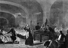 A drawing of Florence Nightingale with her patients in Scutari hospital in Turkey during Crimean war. Taking from bbc.co.uk
