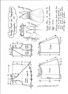Esquema de modelagem de vestido evasê com transpasse tamanho 38.