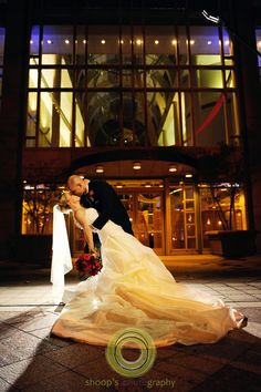 Fabulous glass entry highlights the bride and groom