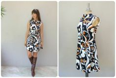 Vintage 60s scooter dress/ abstract floral dress GoGo psychedelic sundress