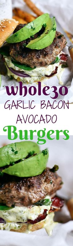 Garlic Bacon Avocado Burger recipe! We love this whole30 approved recipe for a quick & easy emergency meal! A delicious, quick, and easy whole30 garlic bacon avocado burger recipe! Garlic + Bacon + Avocado combine to make a burger with dreamy texture and flavor! Whole30 meal plan that's quick and healthy! Whole30 recipes just for you. Whole30 meal planning. Whole30 meal prep. Healthy paleo meals. Healthy Whole30 recipes. Easy Whole30 recipes. Best paleo shopping guide.