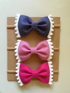 Set of Three Pom Pom Bows // Nylon Headband // Violet, Foxglove, Magenta Source by etsy Felt Headband, Baby Headbands, Felt Bows, Ribbon Bows, Ribbons, Craft Stick Crafts, Felt Crafts, Barrettes, Hairbows
