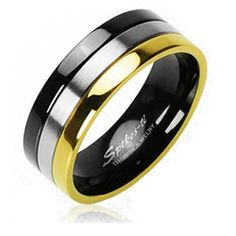 with Gold Plated and Onyx Colored Edged Ring, Men's