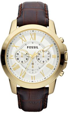 Fossil FS4767 Grant Brown Leather Strap Watch , Fossil Watch Men