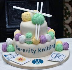 Serenity Knitting in the UK commissioned this gorgeous knitting themed cake to celebrate the opening of their online store, as seen in Simply Knitting magazine. 70th Birthday Cake For Women, 90th Birthday Cakes, Pretty Cakes, Beautiful Cakes, Amazing Cakes, Fondant Cakes, Cupcake Cakes, Knitting Cake, Sewing Cake