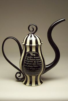 Beth Turnbull Morrish amazing black and white striped teapot. Very underland Malice and Tim Burton esque.