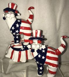 2 LACOMBE ANNACO CREATIONS CERAMIC CAT Musical Limited Edition Yankee Doodle Cat | eBay