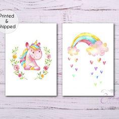 A set of 2 unframed unicorn and rainbow prints. Nursery Prints, Nursery Wall Art, Nursery Decor, Bedroom Decor, Quote Prints, Art Prints, Unicorn Print, Baby Unicorn, Mermaid Wall Art