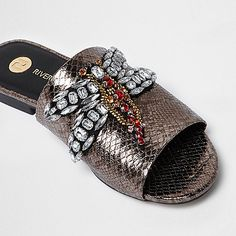 Silver snake embossed dragonfly mules