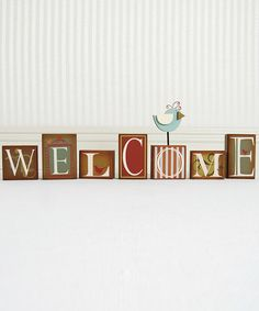 Take a look at this 'Welcome' Bird Block Set by Adams & Co. on #zulily today!