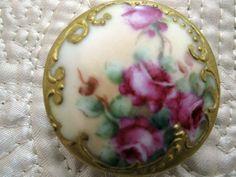 Antique Hand Painted Porcelain Stud Button Roses Gold Gilt HP Gorgeous | eBay