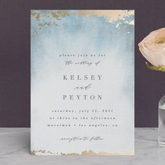 """""""Ethereal Wash"""" – Foil-pressed Wedding Invitations in Ocean by Everett Paper Goods. """"Ethereal Wash"""" – Foil-pressed Wedding Invitations in Ocean by Everett Paper Goods. Foil Stamped Wedding Invitations, Laser Cut Wedding Invitations, Beautiful Wedding Invitations, Wedding Invitation Wording, Printable Wedding Invitations, Wedding Stationary, Event Invitations, Invitation Envelopes, Invitation Templates"""