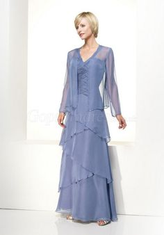 Lavender Chiffon V-neck Ruched Tiers long Mother of the Bride Dress picture 1