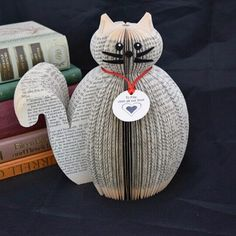 Cat Ornament - Personalised Book Art - pussy - kitty - kitten - personalised cat - personalised gift - Cat lover gift - gift for cat lover Old Book Crafts, Book Page Crafts, Origami, Cat Lover Gifts, Cat Gifts, Book Christmas Tree, Paper Art, Paper Crafts, Recycled Books