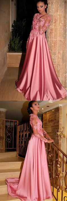 Gorgeous Satin Jewel A-Line Long Sleeves Pink Prom Dresses With Lace Appliques #pink #longsleeve #lace #long #prom #okdresses