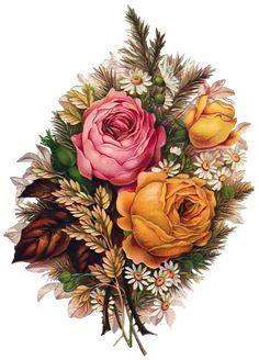 Flowers, fruits and berries. Elements of creativity Vintage Art Vintage, Decoupage Vintage, Decoupage Paper, Vintage Prints, Vintage Images, Victorian Flowers, Vintage Flowers, Vintage Floral, Art Floral