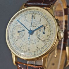 Rare-Vintage-Vulcain-18K-Yellow-Gold-One-Button-Chronograph-Valjoux-22-Stunning