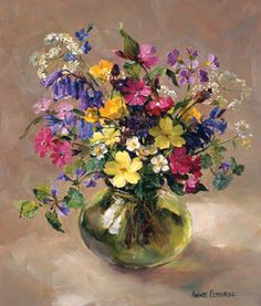 Wild Flowers of Spring..Painting by Anne Cotterill  This is available as an open edition signed print with a mount ready for framing.  Find out more:  http://www.millhousefineart.com/prints/wild-flowers-spring-signed-print