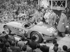 Ferrari of Giannino Marzotto, Mille Miglia, Italy, 1953 Sports Photographic Print - 61 x 46 cm Vintage Prints, Vintage Posters, Ferrari Racing, Sailing Regatta, Cowgirl Photo, Sports Car Racing, Vintage London, Cool Posters, Sports Posters
