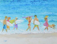 Beach Painting Surfers Beach Decor Tropical decor by JanMatsonArt